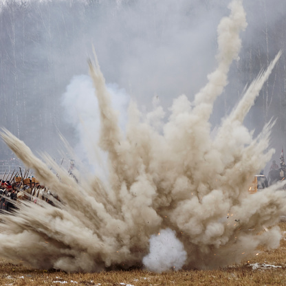 Explosion on the field on reenactment of the battle in War of 1812 near the Borisov, Belarus.
