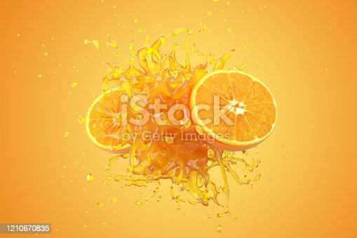 Explosion Orange juice liquid with Orange fruit on yellow background. 3D Render.