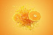istock Explosion Orange juice liquid with Orange fruit on yellow background. 3D Render. 1210670835