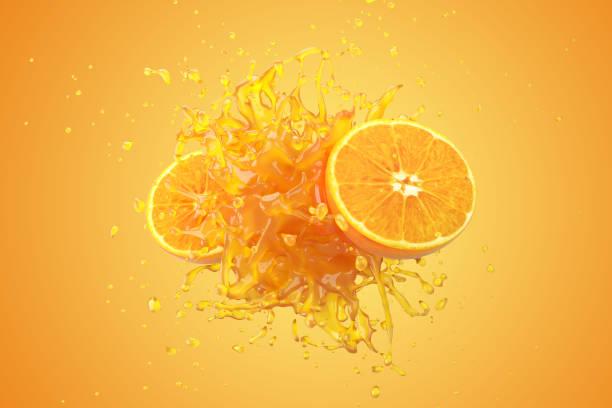 Explosion Orangensaft Flüssigkeit mit Orangenfrucht auf gelbem Grund. 3D-Rendern. – Foto