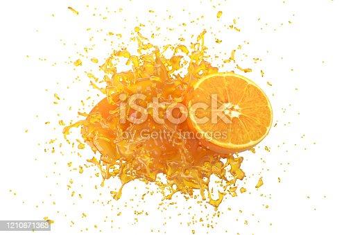 Explosion Orange juice with Orange fruit on white background. 3D Render.