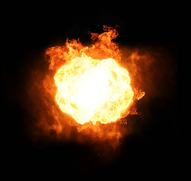 explosion fire and flame.. isolated on black burst stock pictures, royalty-free photos & images