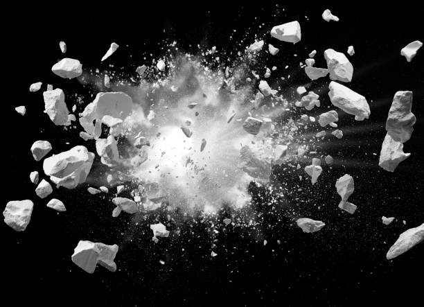 explosion split debris caused by explosion against black background ruined stock pictures, royalty-free photos & images