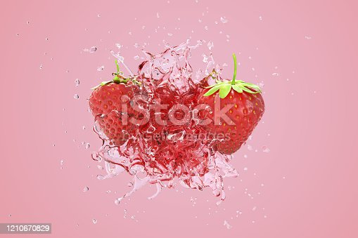 istock Explosion Strawberry juicy liquid with Strawberry fruit on pink background. 3D Render. 1210670829