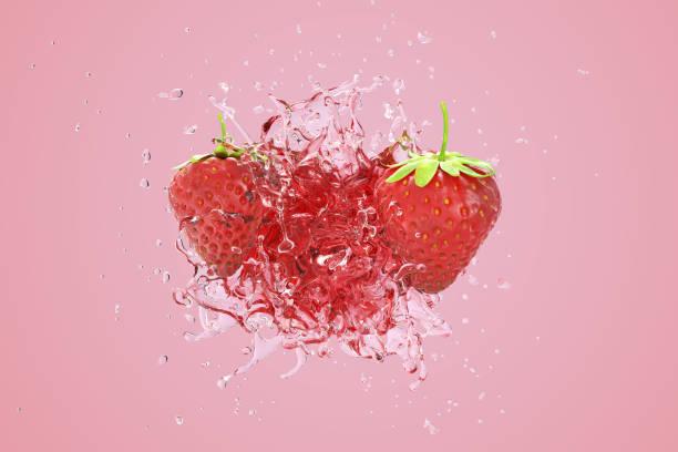 Explosion Erdbeere saftige Flüssigkeit mit Erdbeerfrüchten auf rosa Hintergrund. 3D-Rendern. – Foto