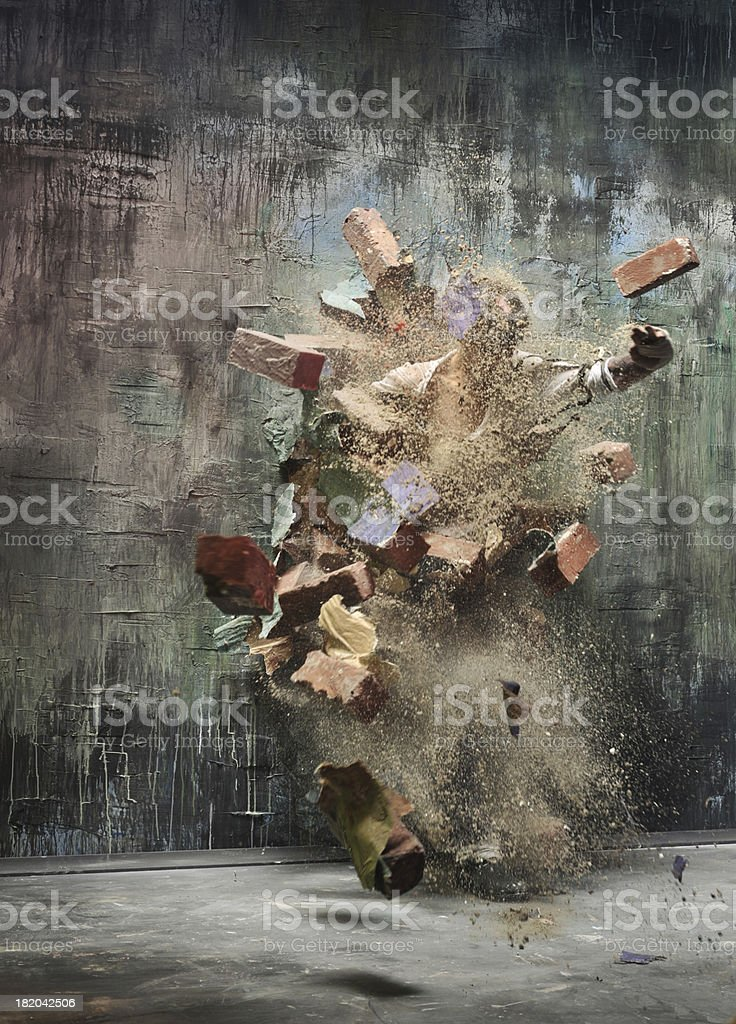 explosion wall stock photo