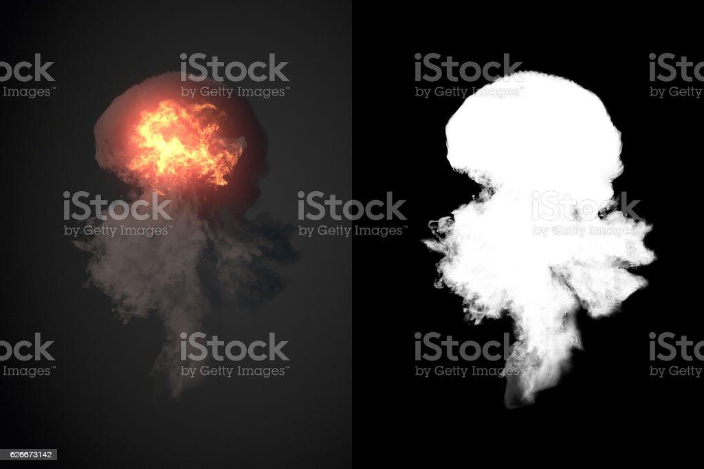 Explosion with black smoke in dark 3d rendering plus alpha stock photo
