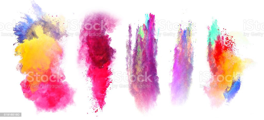 Explosions of colored powder on white background stock photo