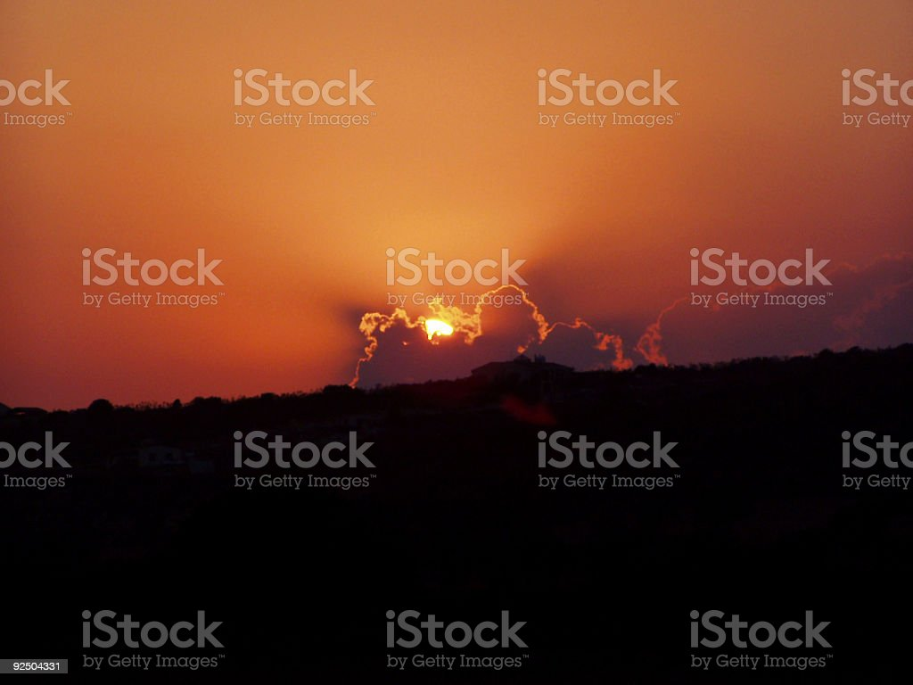 Explosive cloudy sunset royalty-free stock photo