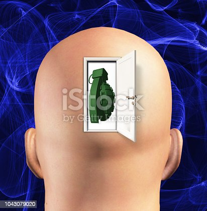 Man's head with grenade inside.