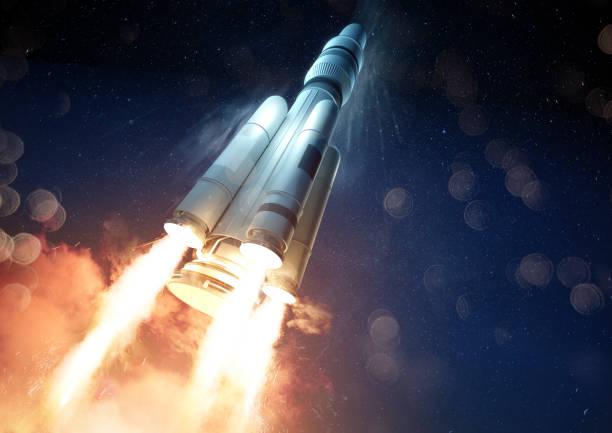 Explosive Rocket Launch stock photo