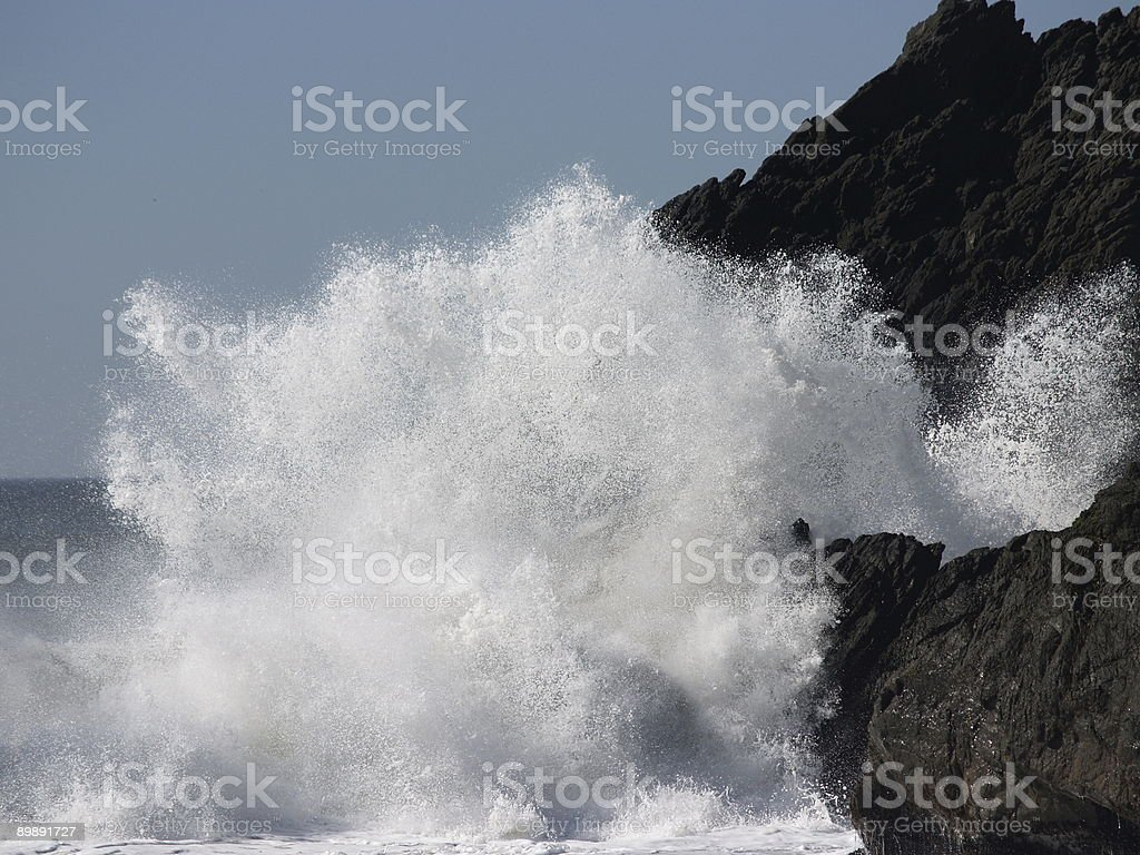 Explosive Wave on Black Cliff royalty-free stock photo