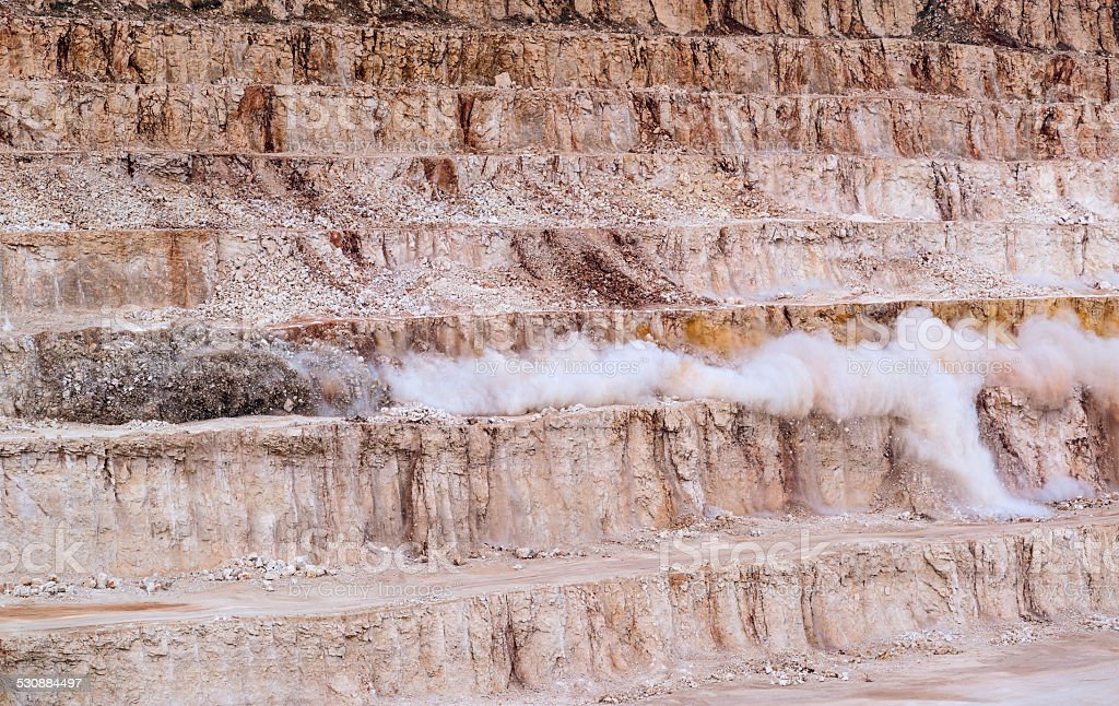 Explosive works on a  mine stock photo