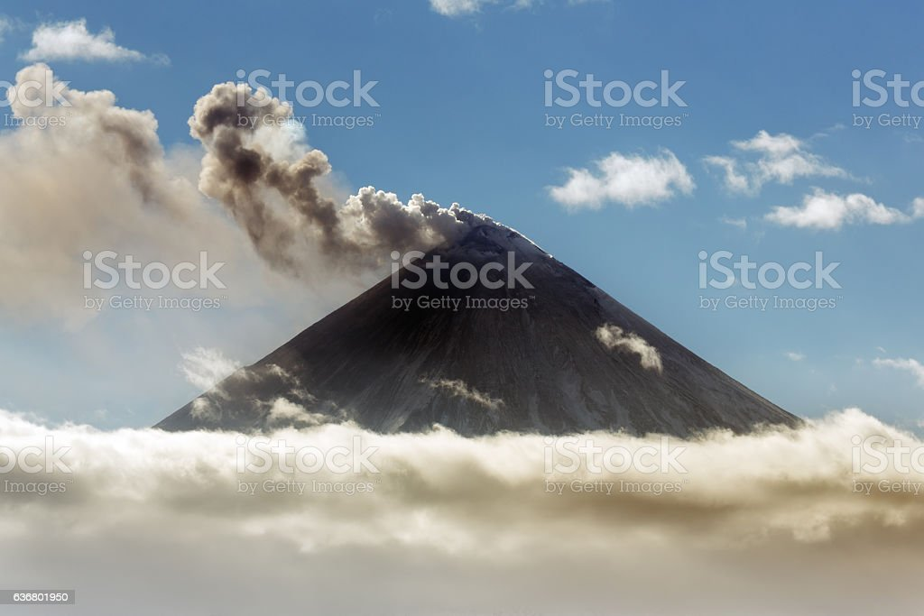 Explosive-effusive eruption of Klyuchevskoy Volcano on Kamchatka stock photo