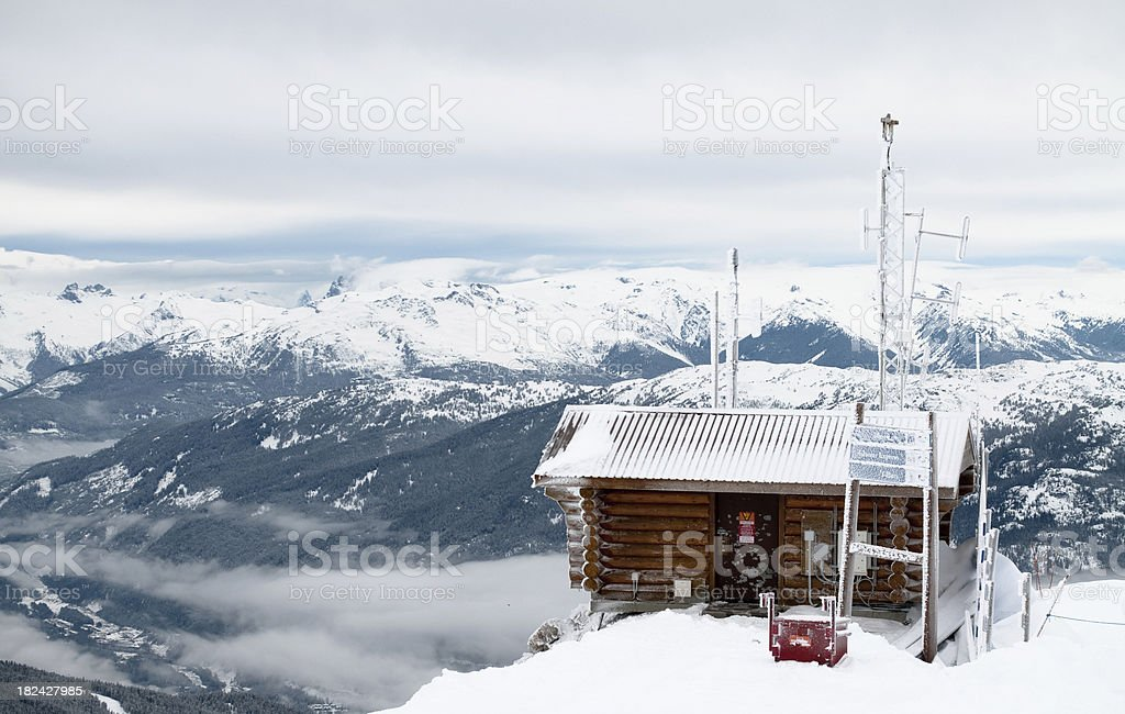Explosives hut on top of Blackcomb, BC stock photo
