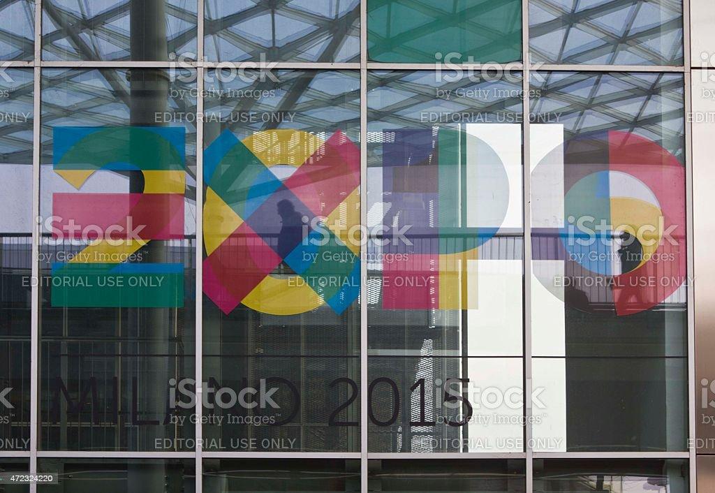 Expo 2015 logo imprinted on the window stock photo