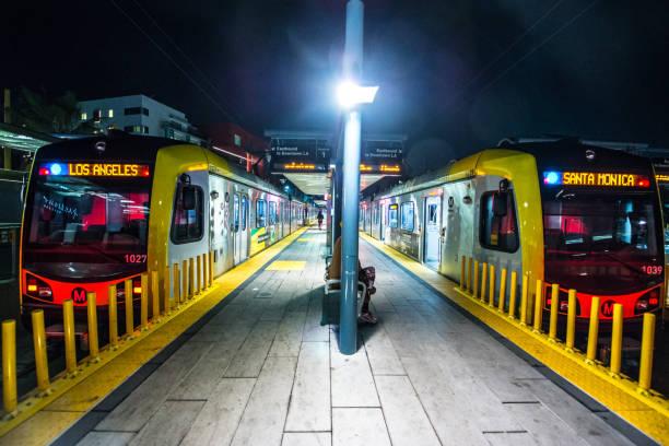 Expo Line Metro from Santa Monica to Los Angeles, California, USA stock photo