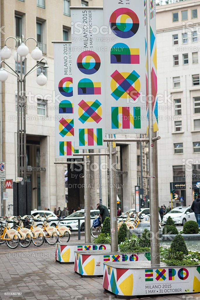 Expo Milano 2015 Universal Exposition banners in Milan city centre stock photo