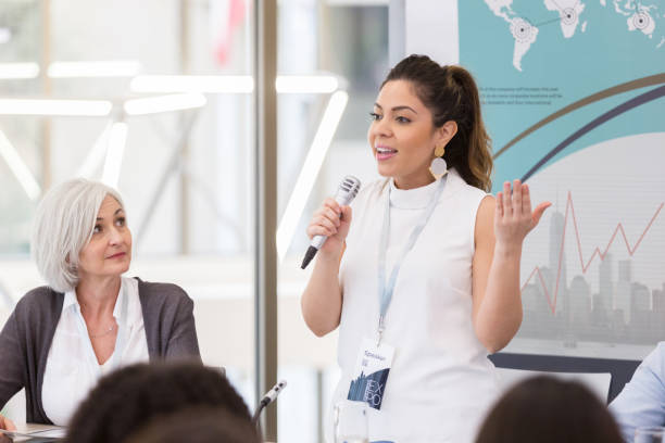 Expo speaker shares issues affecting Hispanic women stock photo