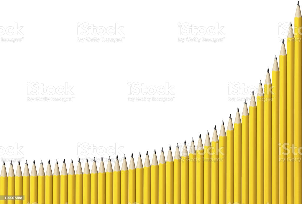 Exponential Graph of Pencils stock photo