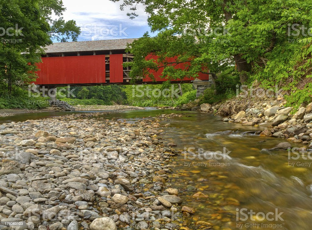 Exposed Berkshires Covered Bridge stock photo