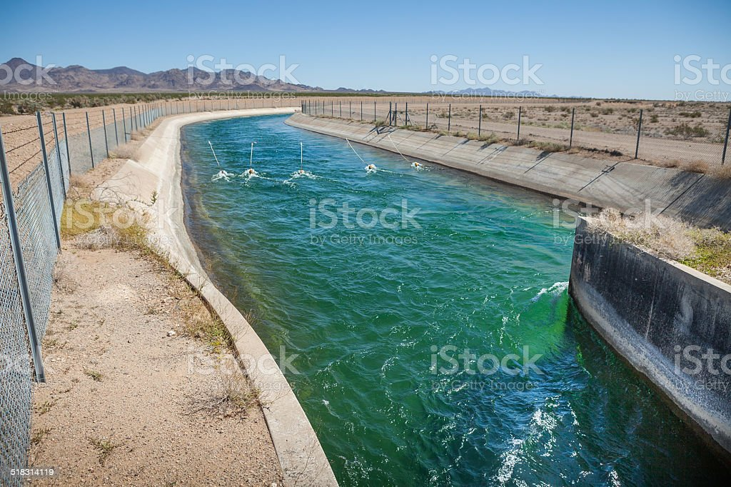 Exposed Section of the Colorado Aquduct in the Mojave Desert royalty-free stock photo