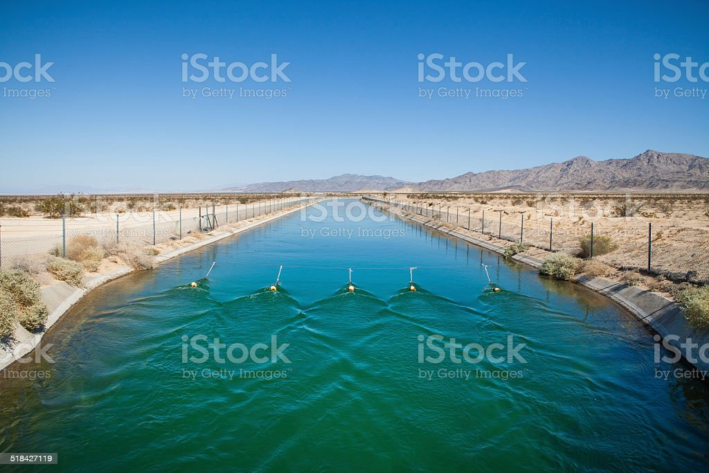 Exposed Section of the Colorado Aquduct in the Mojave Desert stock photo