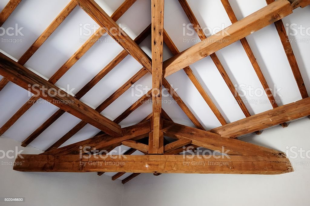 Exposed Timber roof structure stock photo