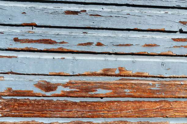 Exposed wood on a section of weathered siding stock photo