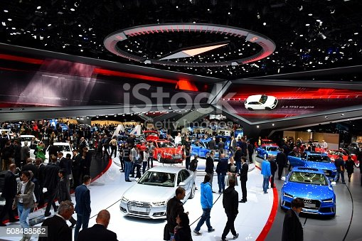 Frankfurt, Germany - September 16th, 2015: The visitors (especially journalists and businessmens) are looking on the new cars from Audi brand on the motor show. In a few days above thousands journalists saw the hundreds of vehicles. Most of journalists admired cars such as Audi.
