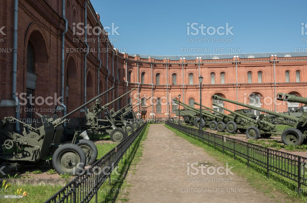 Exposition on courtyard of Military History Museum of artillery, engineer and signal corps in St. Petersburg. Russia stock photo