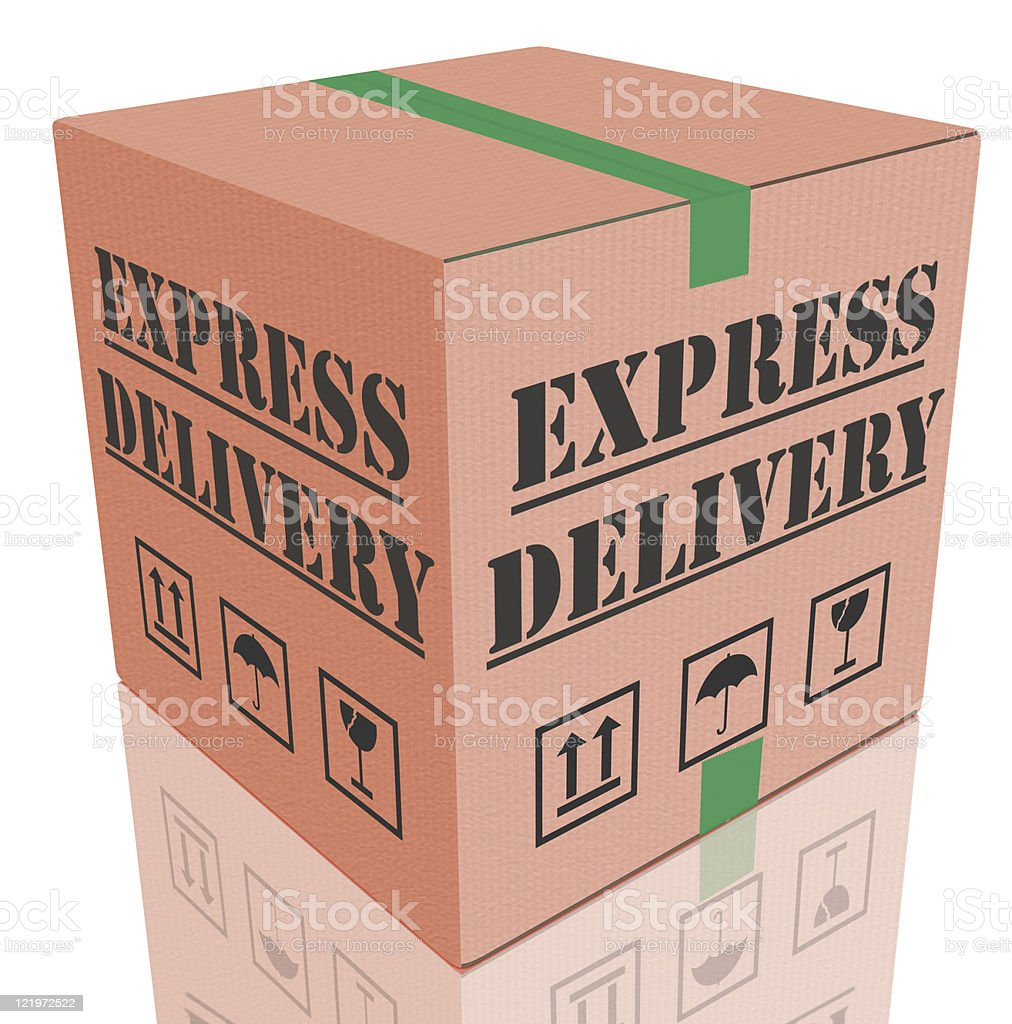 express delivery cardboard box stock photo