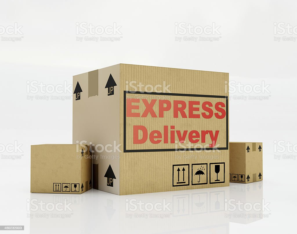 Express delivery cardboard stock photo