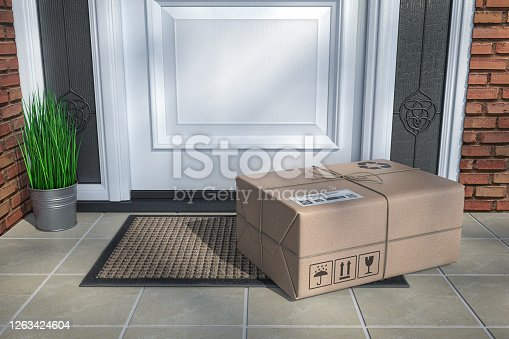 Express delivery, e-commerce online purchasing concept. Parcel box on floor near front door. 3d illustration