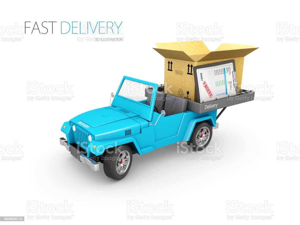 Express Delivery, Fast delivery car 3d illustration isolated white.