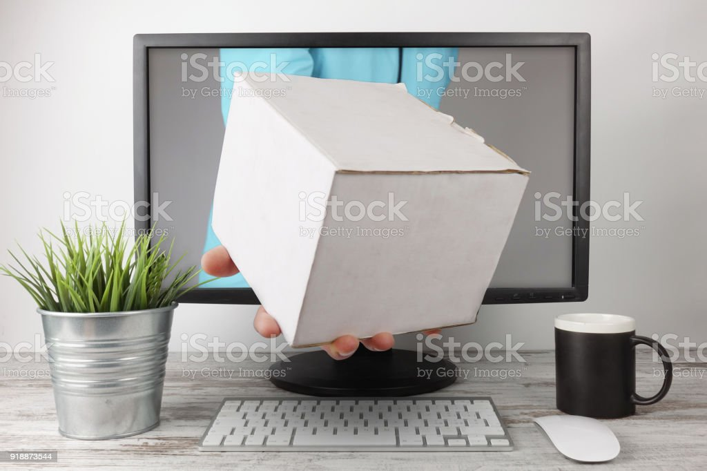 Express Delivery white package stock photo