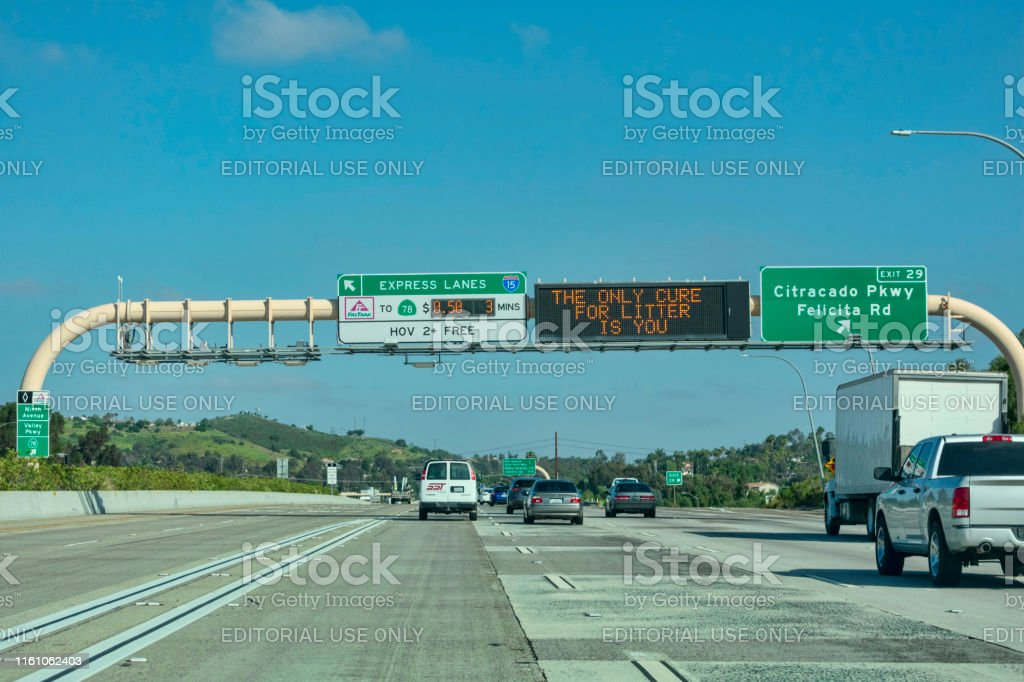 Express Lane California >> Express Lanes Marked By Large Overhead Signage With Toll