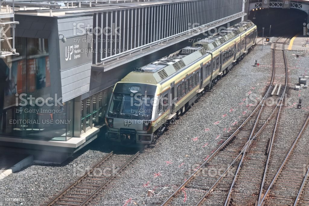 UP Express Train Departing Union Station for Toronto Pearson International Airport stock photo