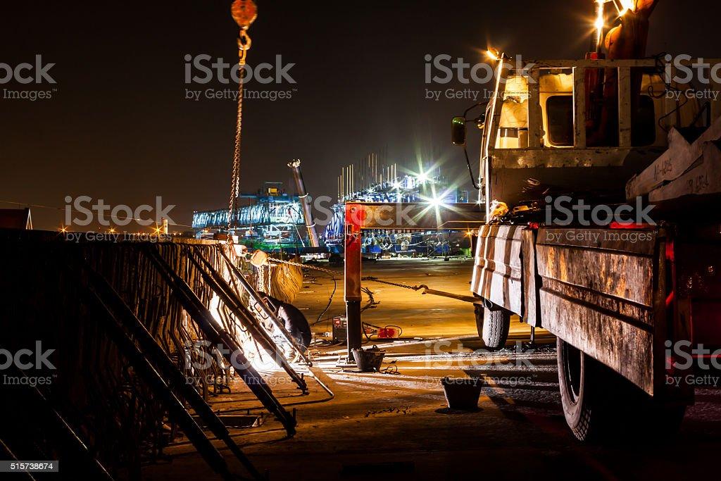 Express Art und Weise Baustelle bei Nacht – Foto