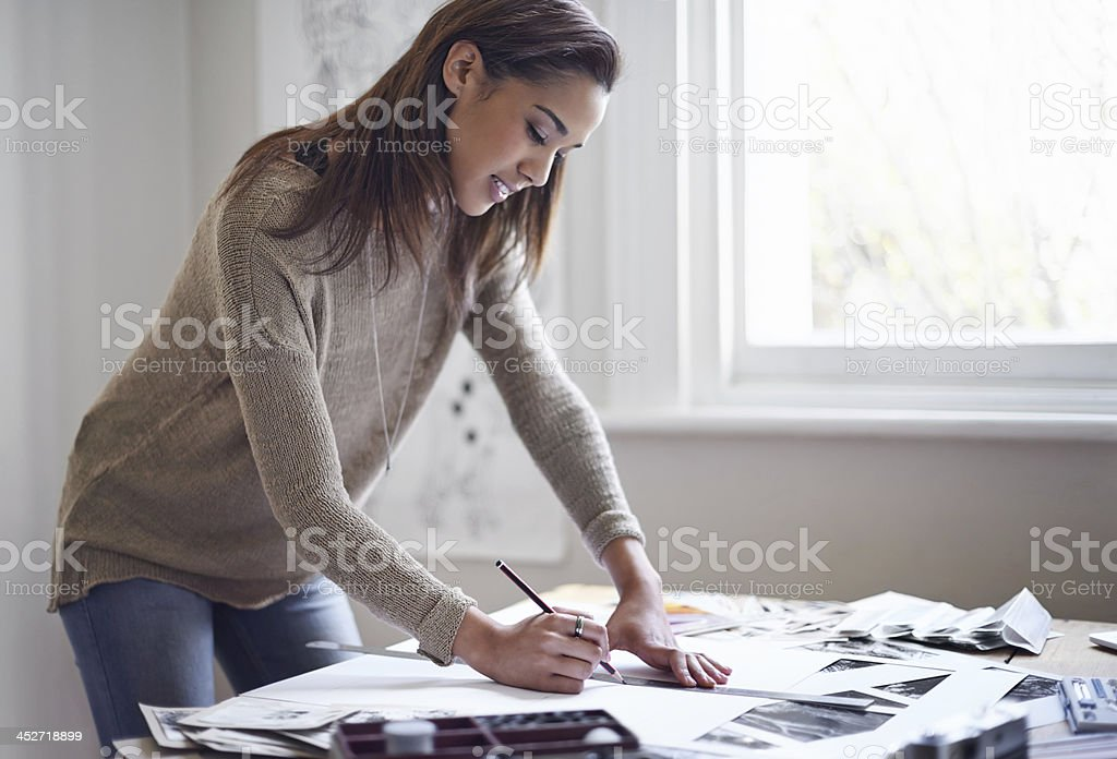 Expressing herself creatively stock photo