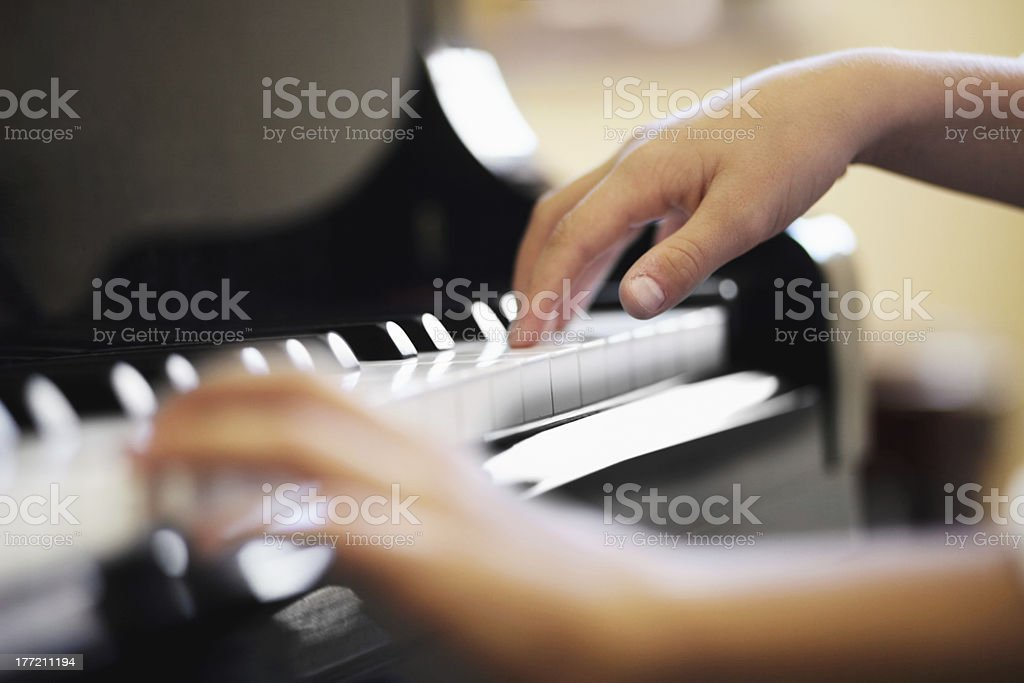 Expressing his musical talent stock photo