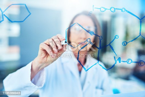 Shot of a mature scientist drawing molecular structures on a glass wall in a laboratory