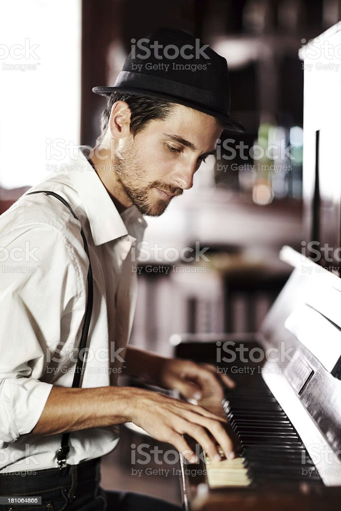 Expressing the music from deep within his soul stock photo