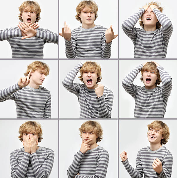 expression collection  of  teenage boy with curly blond hair - stupidblonde stock pictures, royalty-free photos & images