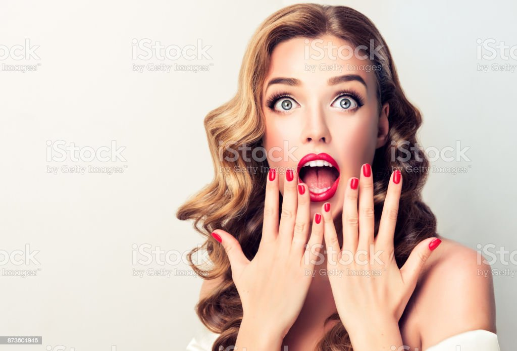 Expression of shock, excitement and amazement on face of perfectly...