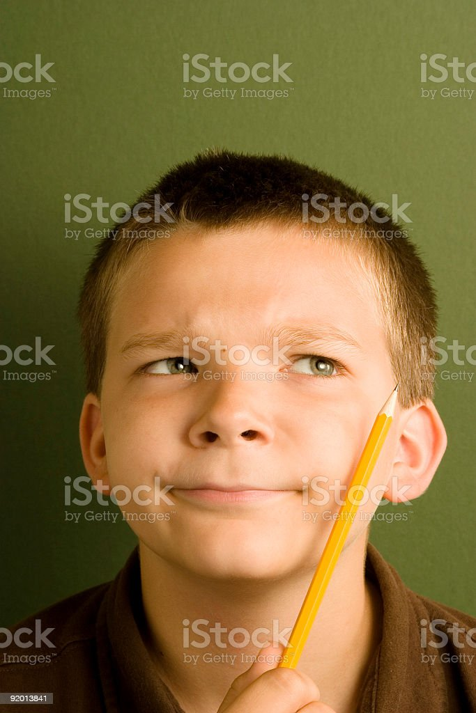 Expression Series - Thinking Pencil royalty-free stock photo
