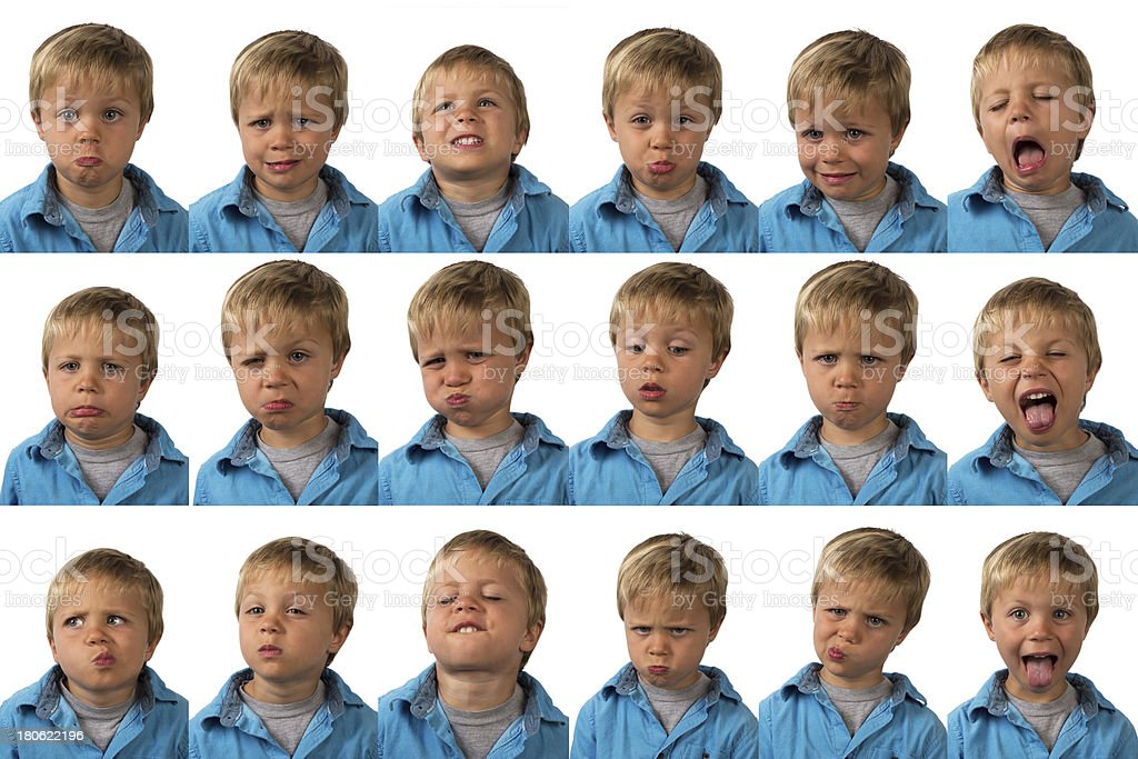 Expressions - five year old boy stock photo