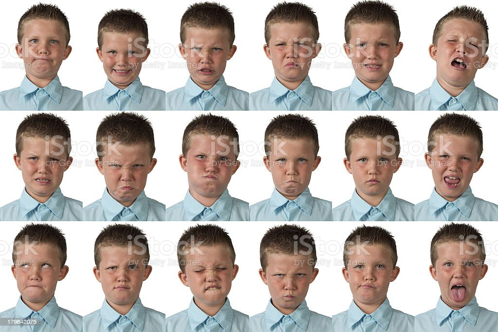 Expressions - Nine Year Old Boy stock photo