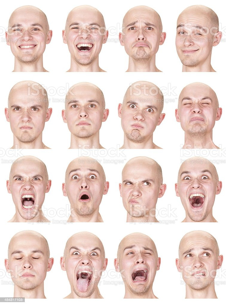 Expressive bald man emotion set collection on white royalty-free stock photo