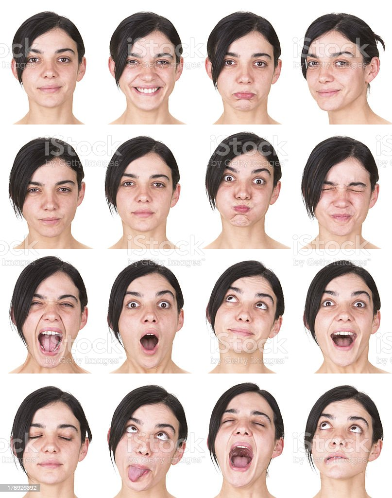Expressive black long hair woman emotion set collection on white stock photo